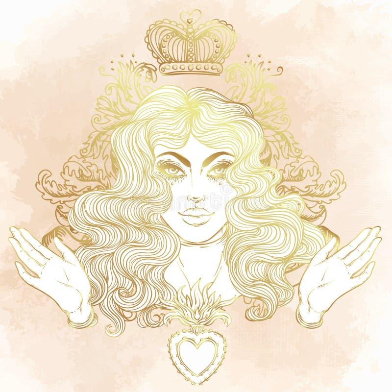 Madonna, dama stroskanie Oddanie Niepokalany serce Ble royalty ilustracja