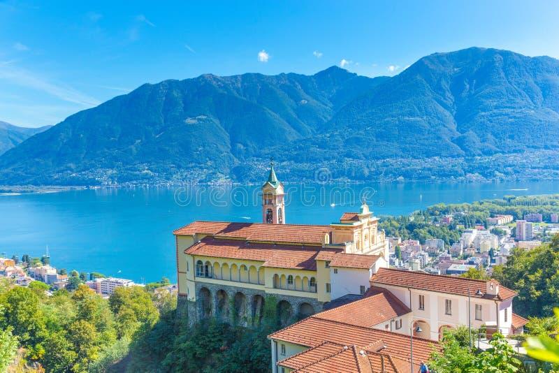 Madonna Del Sasso Church, Locarno, die Schweiz lizenzfreie stockfotografie