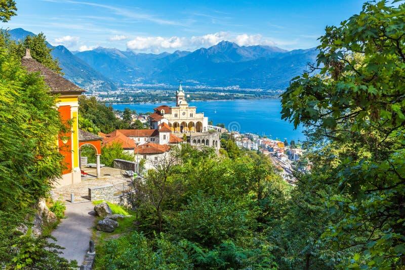 Madonna Del Sasso Church, Locarno, die Schweiz stockfotografie