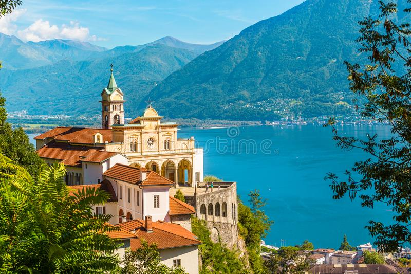 Madonna Del Sasso Church, Locarno, die Schweiz stockfoto