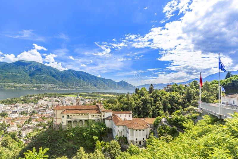 Madonna Del Sasso Church, Locarno, die Schweiz lizenzfreies stockfoto