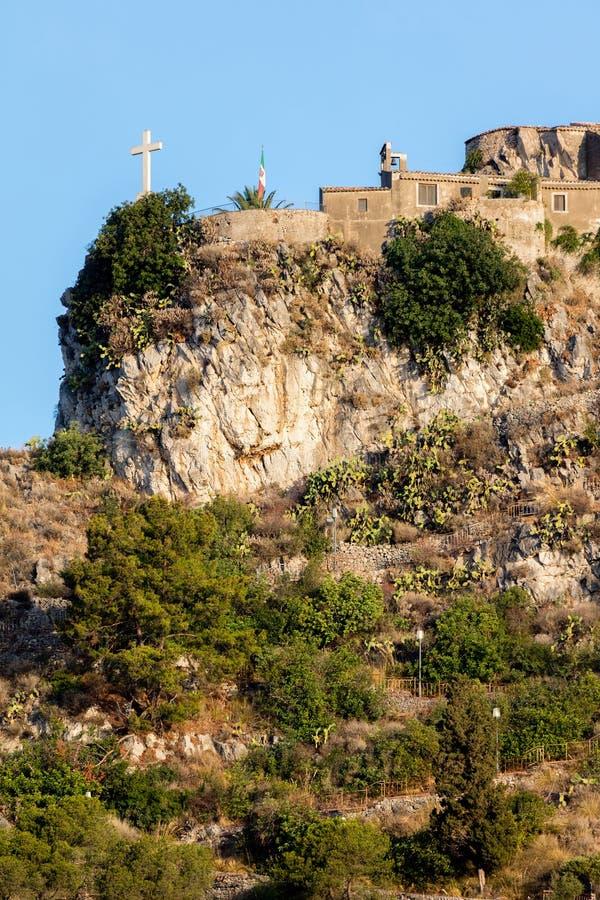 Madonna dellaRocca kyrka i Taormina, Sicilien, Italien royaltyfri fotografi