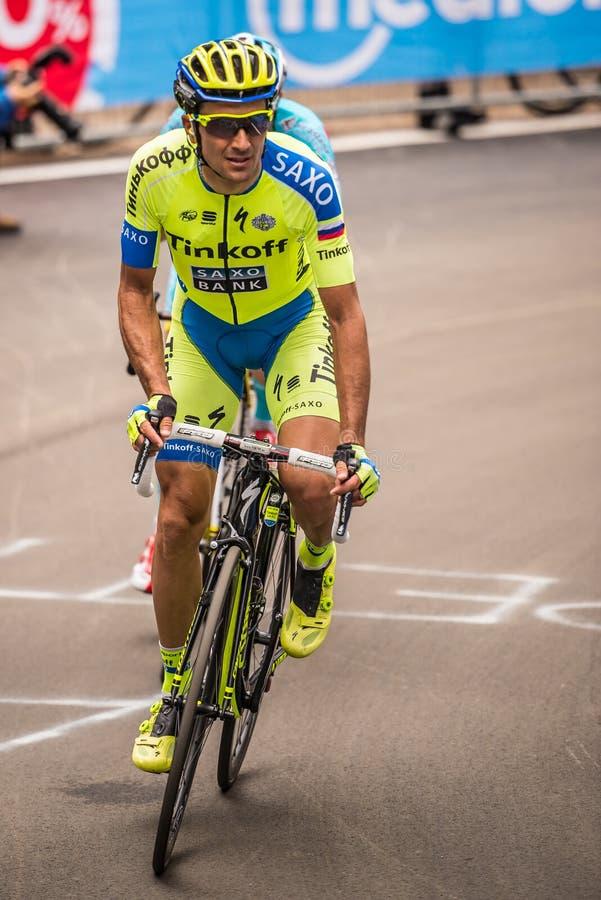 Madonna di Campiglio, maggio 2015 de Italia 24; Ivan Basso durante uma fase do Giro D'Italia fotografia de stock