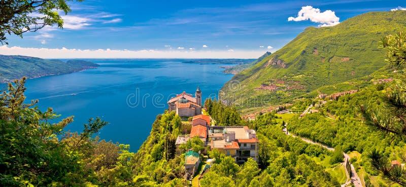 Madonna di Montecastello hermitage above Lago di Garda. View, Lombardy, Italy royalty free stock photos