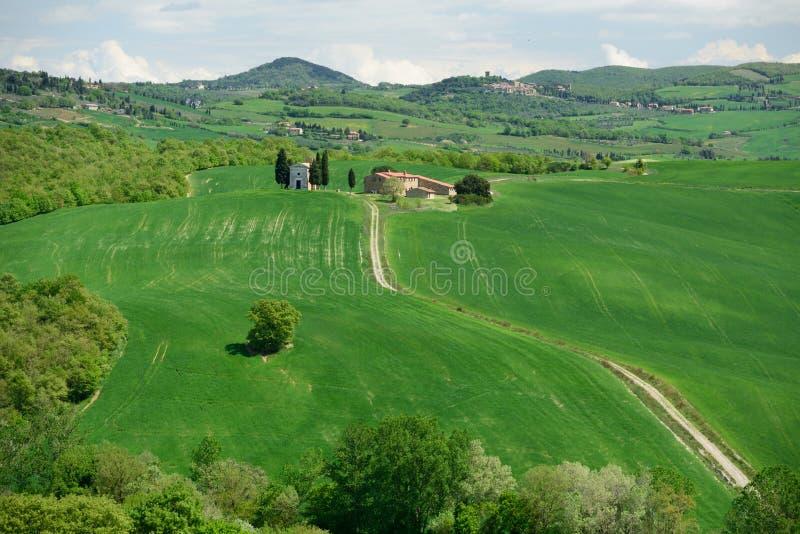Madonna di Vitaleta Chapel, Val d'Orcia, Tuscany, Italy stock photography