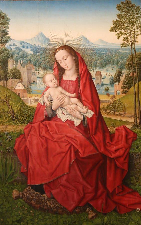 Madonna e bambino, dipingenti da Hans Memling nella cattedrale di Burgos fotografia stock libera da diritti