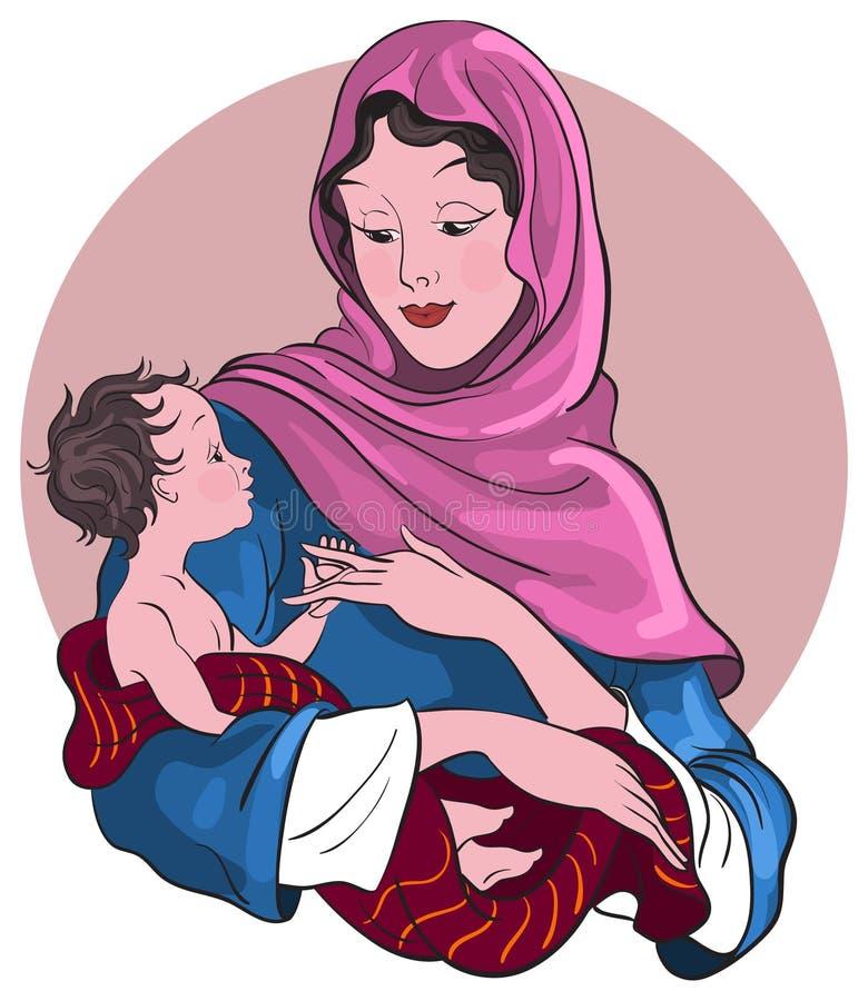 Madonna e bebê Jesus. Cena da natividade ilustração do vetor