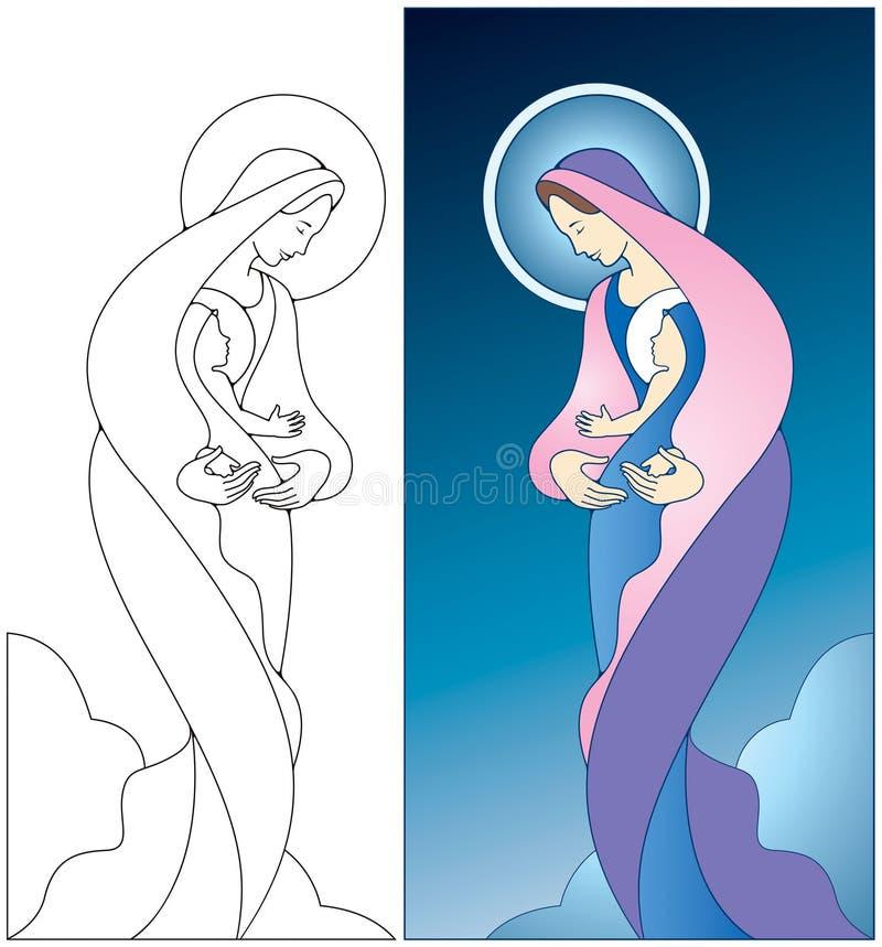 Madonna e criança ilustração do vetor