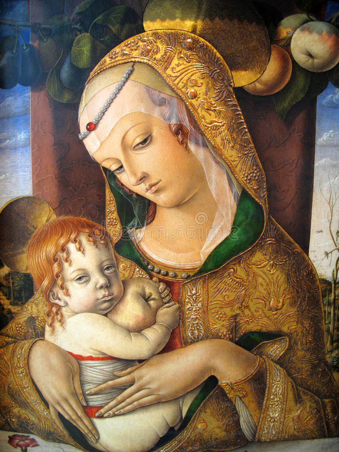 Madonna e criança por Carlo Crivelli 1480AD imagem de stock
