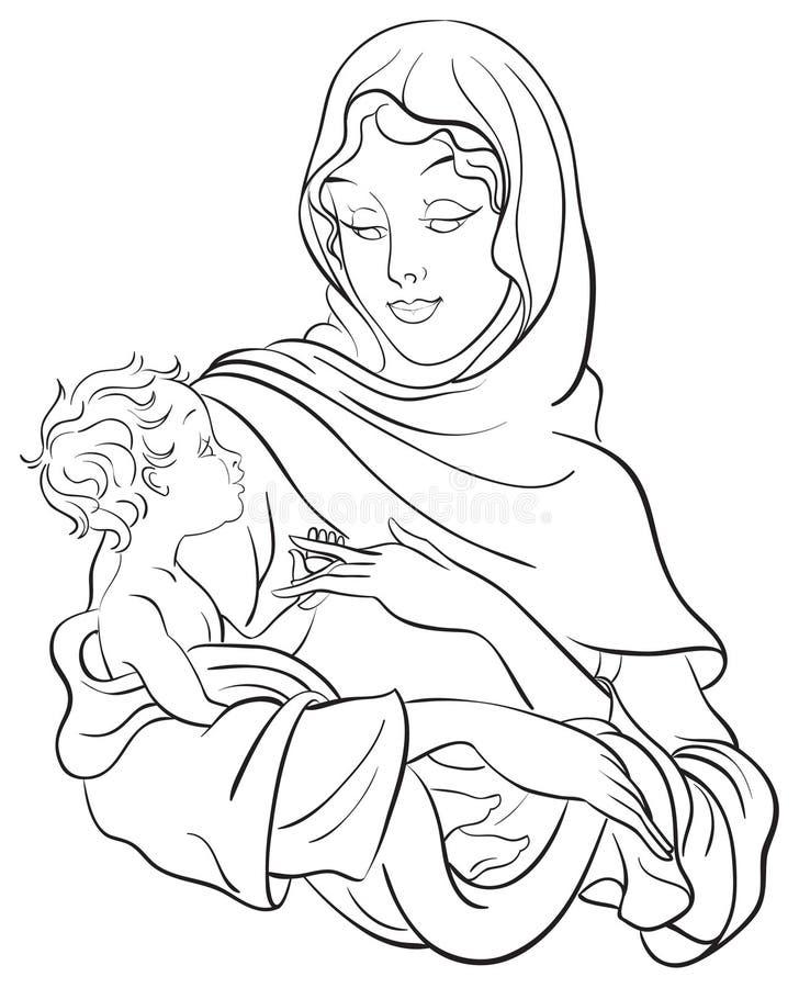 Madonna en baby Jesus. De scène van de geboorte van Christus royalty-vrije illustratie