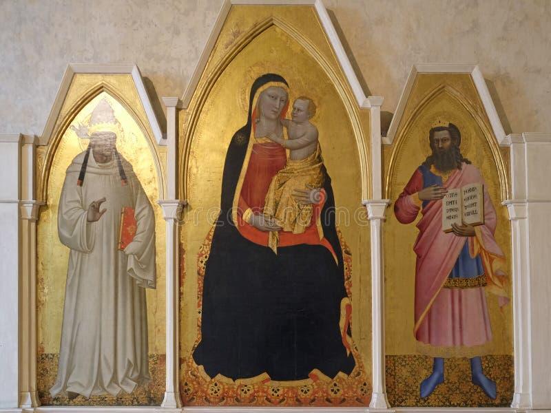 Madonna et enfant avec le travail de St Gregory et de St, Di Santa Croce de basilique à Florence image stock