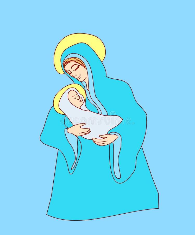 Madonna i dziecko Jezus royalty ilustracja