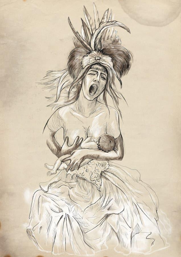 Madonna i dziecko szczotkarski węgiel drzewny rysunek rysujący ręki ilustracyjny ilustrator jak spojrzenie robi pastelowi tradycy ilustracji