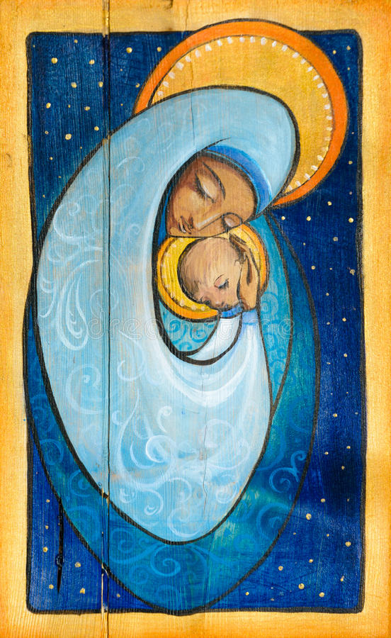 Madonna. And infant Jesus painted on a wood stock illustration
