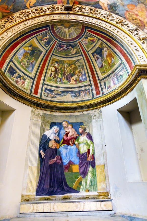 Madonna-Kinderfresko Santa Maria Della Pace Church Rome Italy stockfoto
