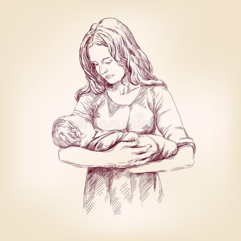 Madonna Mary που κρατά το διανυσματικό llustration του Ιησού μωρών ελεύθερη απεικόνιση δικαιώματος