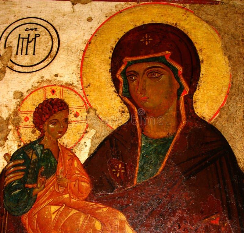Madonna (Mary) en een kind (Jesus-Christus) stock afbeelding