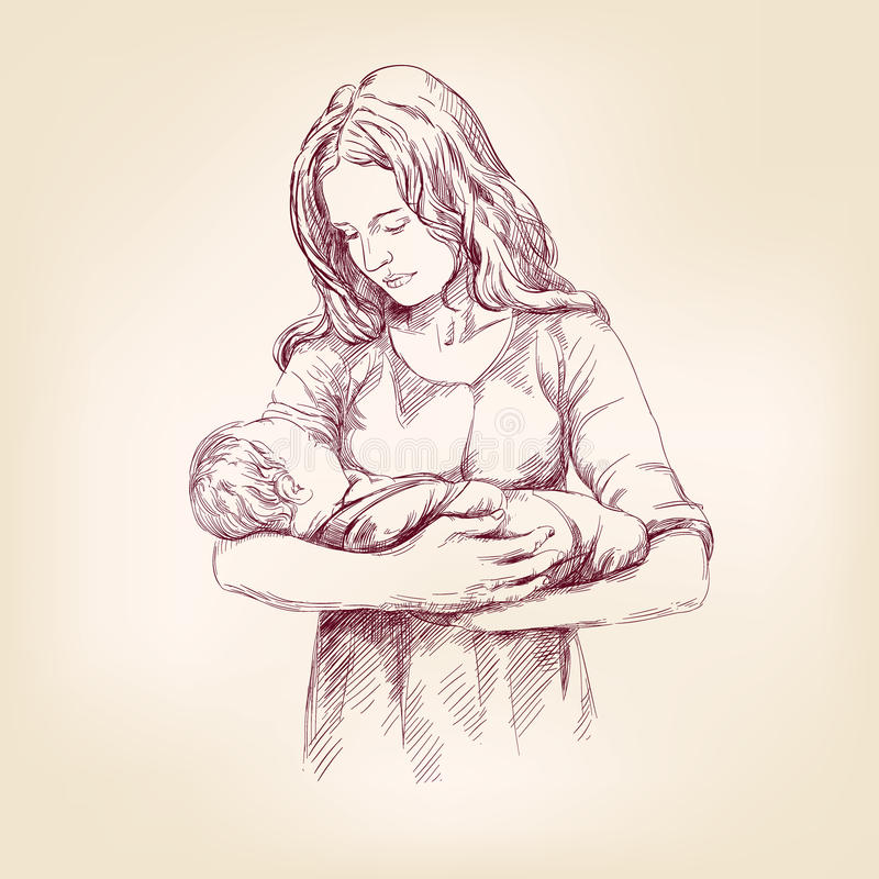 Madonna Mary holding Baby Jesus vector llustration royalty free illustration