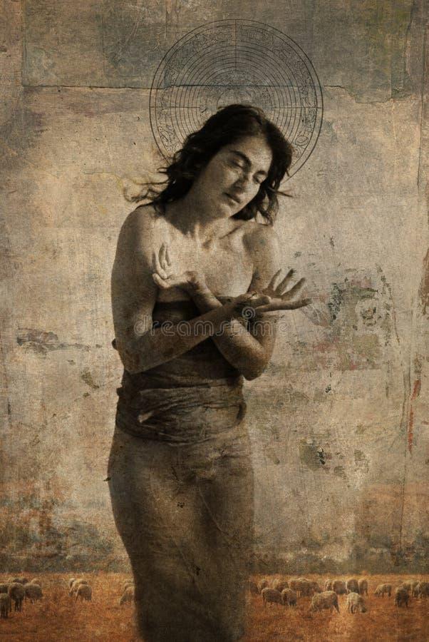 Madonna pastoral stock de ilustración