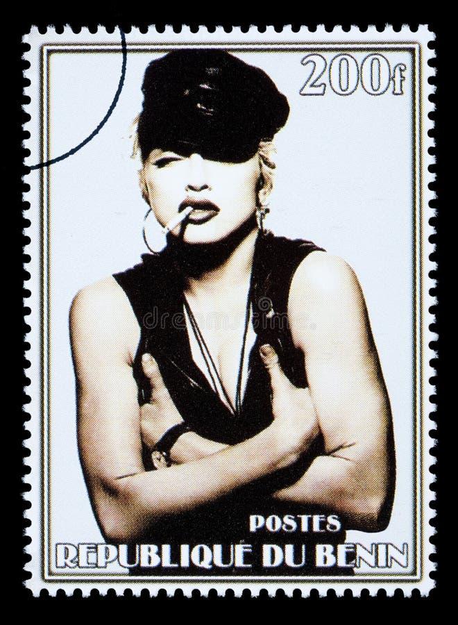 Madonna Postage Stamp. REPUBLIC OF BENIN - CIRCA 2002: A postage stamp printed in the Republic of Benin showing Madonna Louise Ciccone, circa 2002
