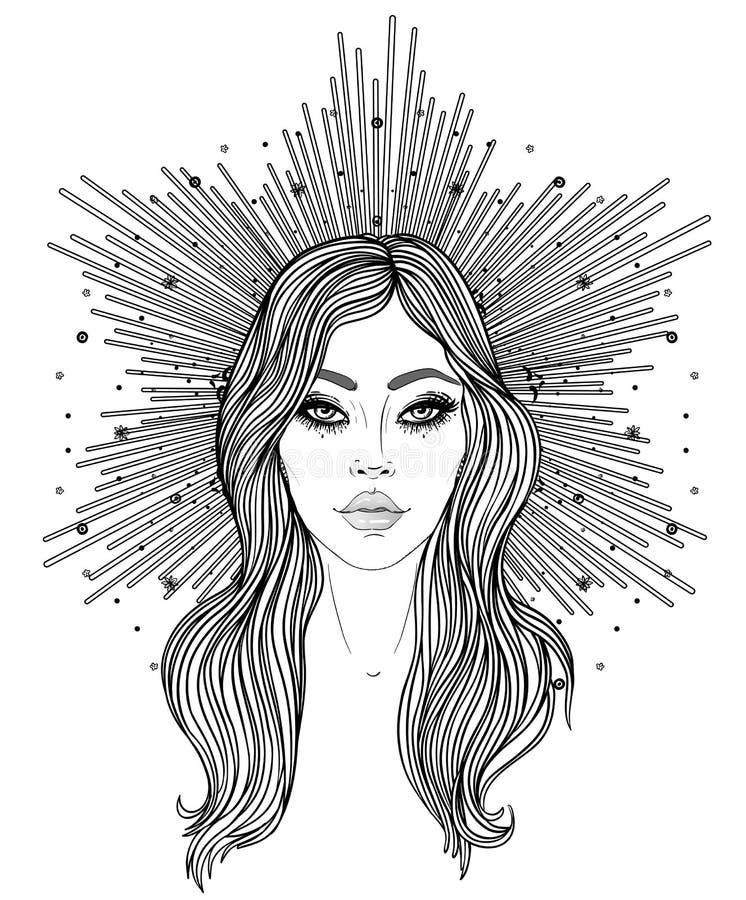 Madonna, signora di dispiacere Devozione al cuore immacolato di vergine Maria benedetto, regina di cielo Illustrazione di vettore illustrazione vettoriale