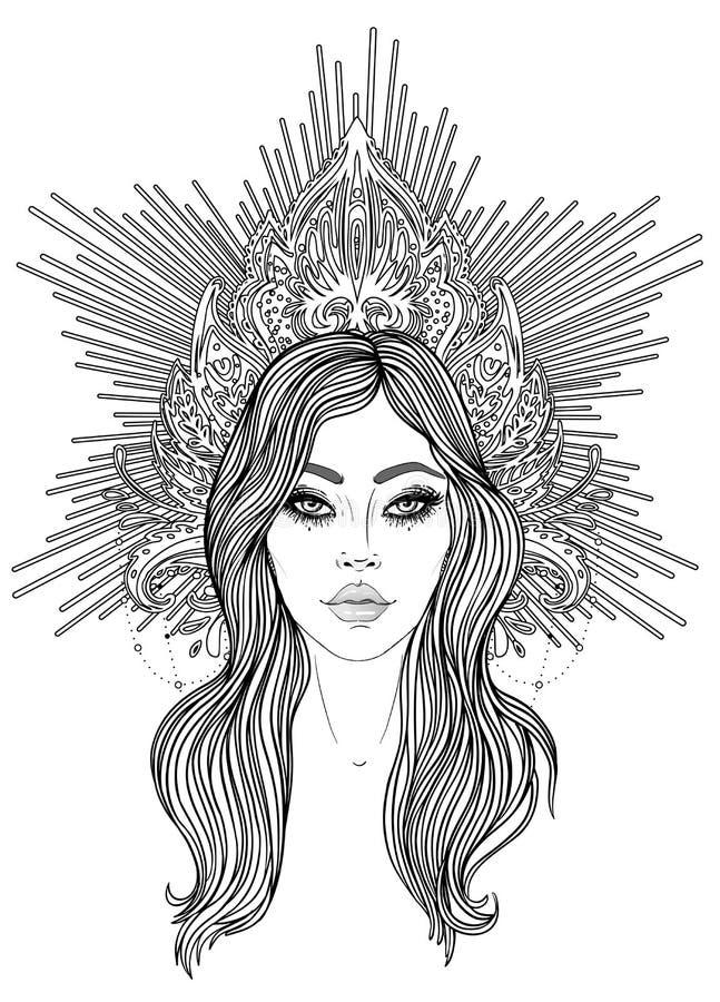 Madonna, signora di dispiacere Devozione al cuore immacolato di vergine Maria benedetto, regina di cielo Illustrazione di vettore royalty illustrazione gratis