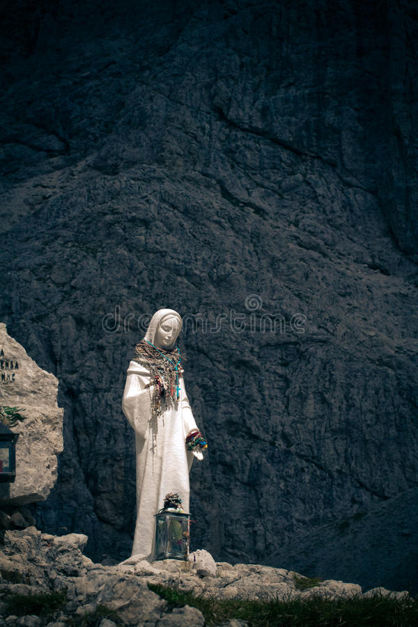 Madonna on Vajolet towers, Dolomites stock images