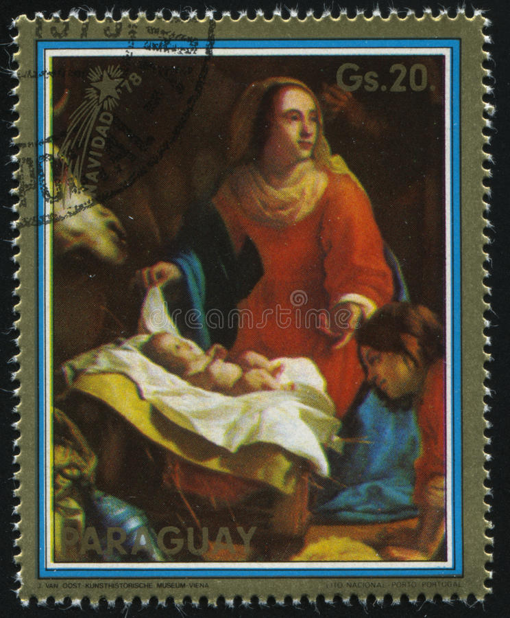 Madonna by Van Oost. RUSSIA KALININGRAD, 15 APRIL 2017: stamp printed by Paraguay, shows Painting of Madonna by Van Oost, circa 1979 royalty free stock photos
