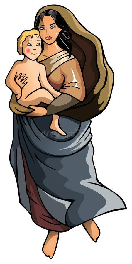 Madonna z dzieckiem ilustracja wektor
