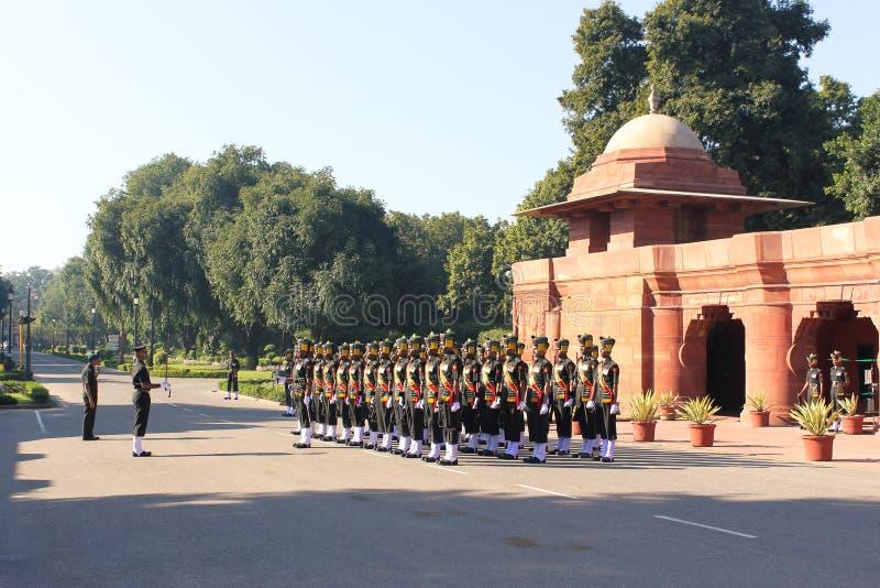 Madras Sappers - indisk armé på Rashtrapati Bhavan royaltyfria foton