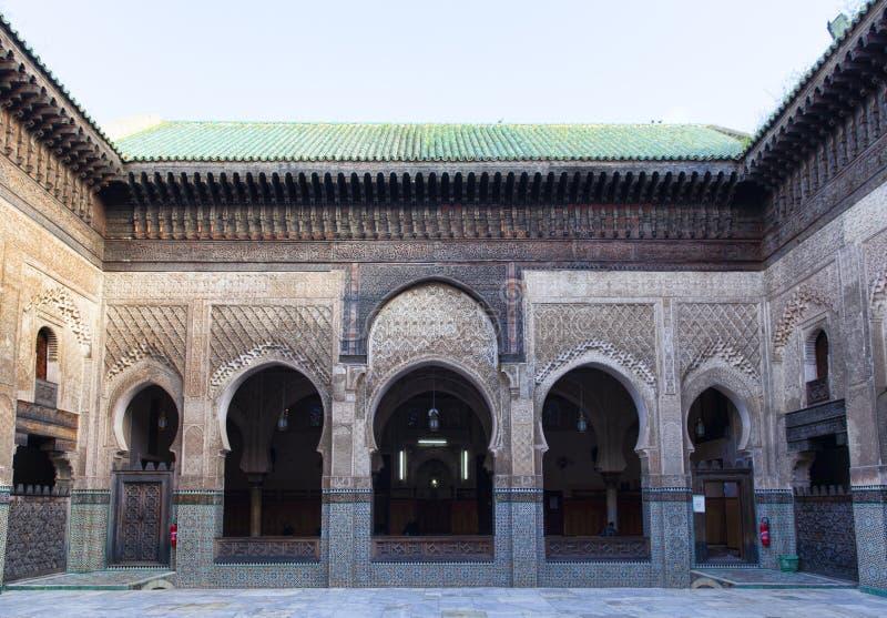 Madrasa Bou Inania, Fez, Marokko, 2017 stock afbeelding