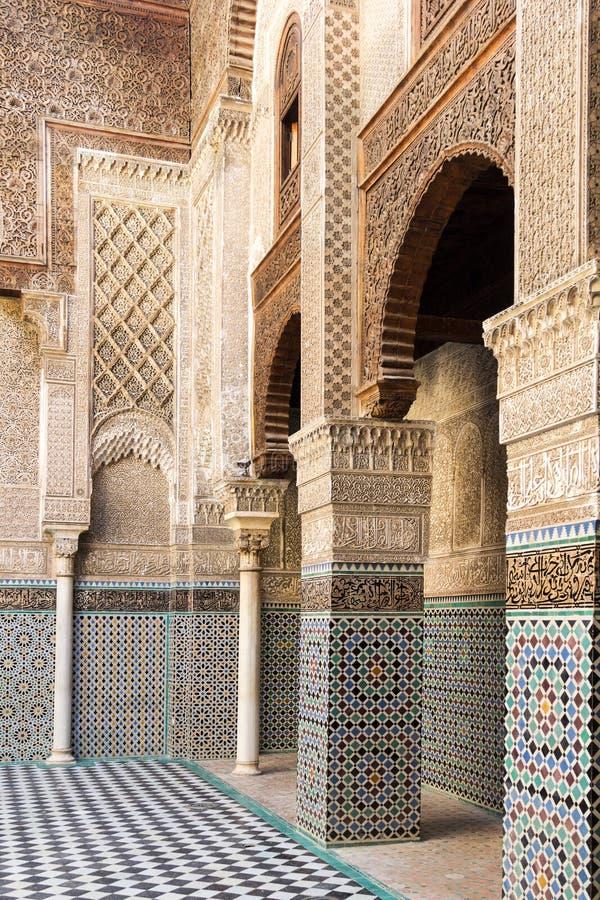 Madrasa Bou Inania - instituto antigo para o ensino superior imagem de stock royalty free