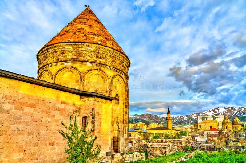 Madrasa gemella di Minaret a Erzurum, Turchia immagine stock libera da diritti