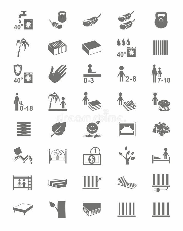 Madrasser madrassräkningar, sängar, en-färg symboler vektor illustrationer