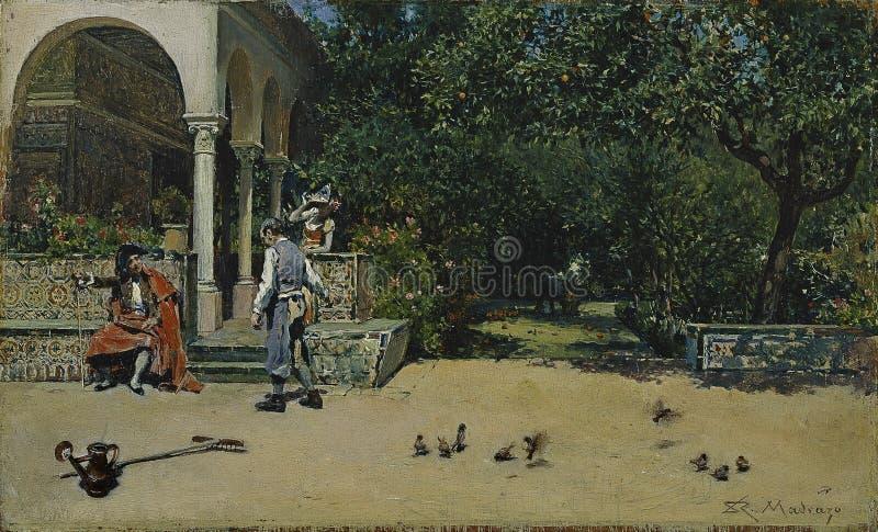 Madrazo y Garreta, Raimundo de - pawilon Carlos V w ogródach Alcazar Seville, 1868 zdjęcie royalty free