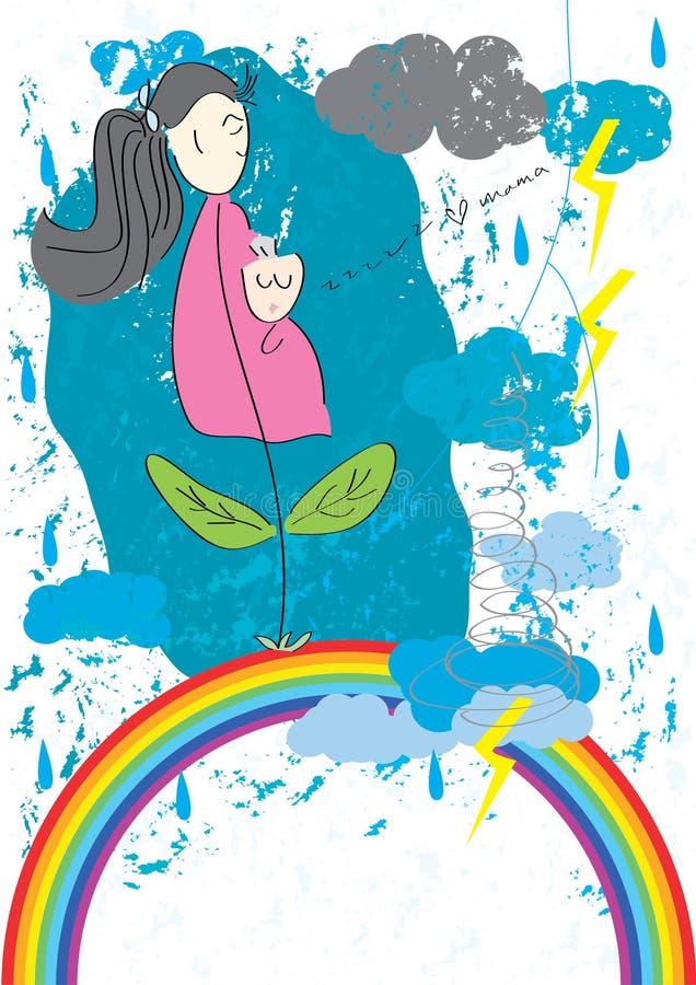 Madre abstracta y Me_eps stock de ilustración
