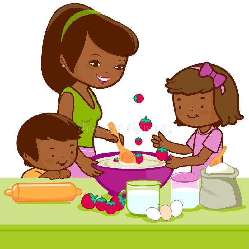 Madre africana e bambini che cucinano nella cucina royalty illustrazione gratis