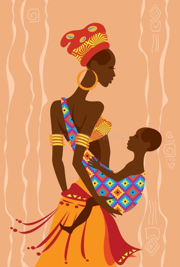 Madre africana hermosa y su bebé en una honda libre illustration
