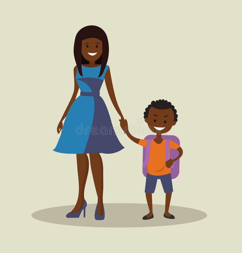 Madre afroamericana con su colegial del niño stock de ilustración