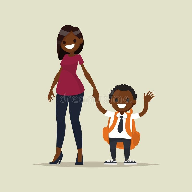Madre afroamericana con su colegial del niño Illustr del vector stock de ilustración