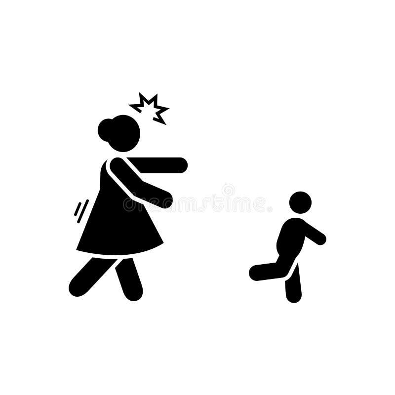 Madre, arrabbiato, inseguente, bambino, icona impertinente r Icona premio di progettazione grafica di qualit? Segni e simboli illustrazione di stock