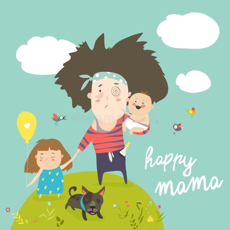 Madre cansada que camina con sus niños ilustración del vector