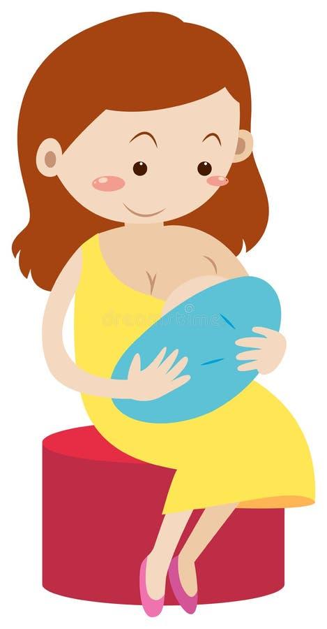 Madre che allatta al seno bambino appena nato illustrazione di stock