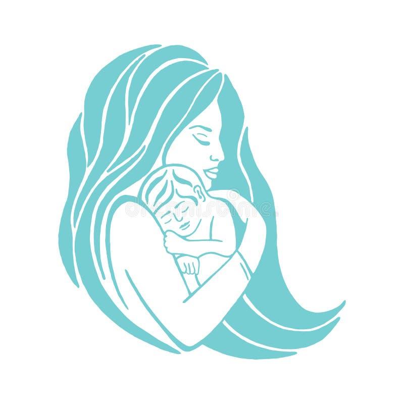 Madre che allatta al seno il suo simbolo del bambino Emblema di coalizione di allattamento al seno, icona di sostegno della madre illustrazione vettoriale