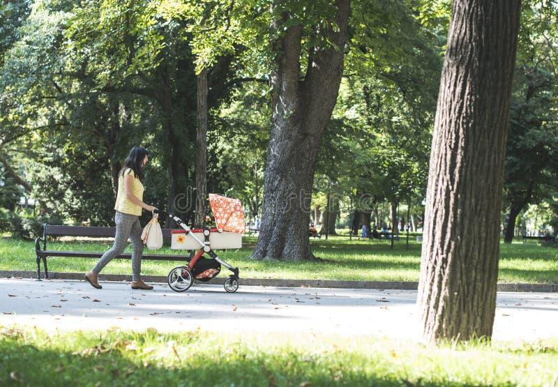 Madre che cammina nel parco con la carrozzina immagine stock