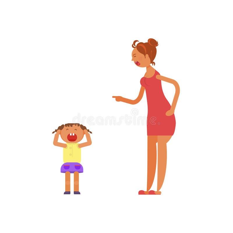Madre che grida al bambino royalty illustrazione gratis