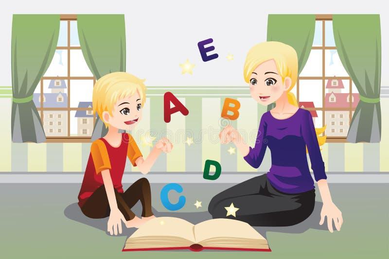 Madre che insegna al suo bambino royalty illustrazione gratis