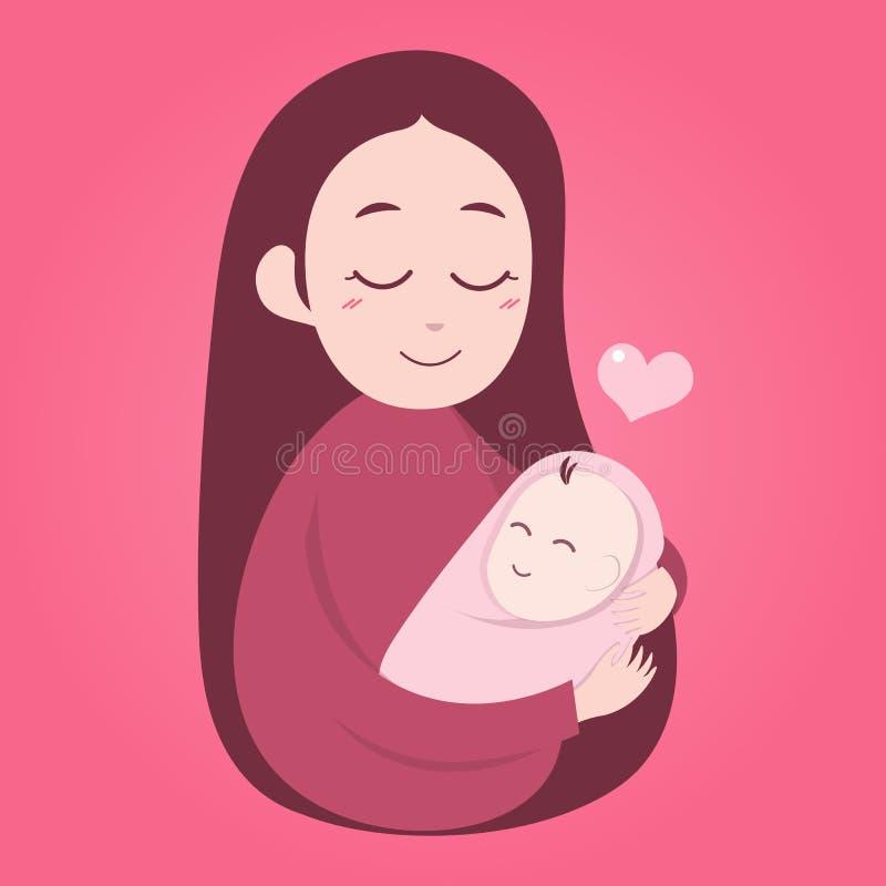 Madre che tiene bambino sveglio royalty illustrazione gratis