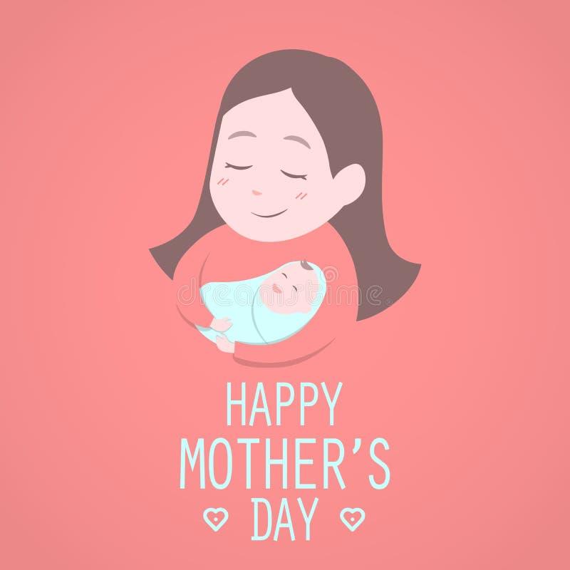 Madre che tiene bambino sveglio Il giorno delle madri felice royalty illustrazione gratis