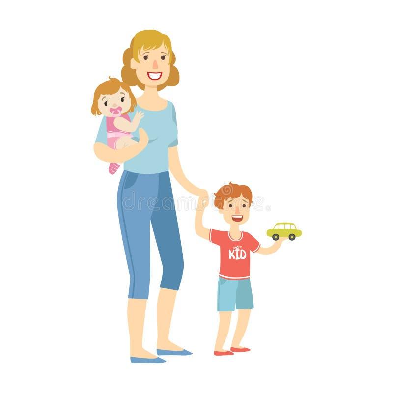 Madre con dos niños, la hija y el pequeño hijo, ejemplo del bebé de la serie cariñosa feliz de las familias ilustración del vector